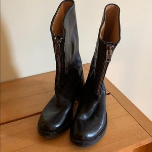 Black front zip Frye Boots